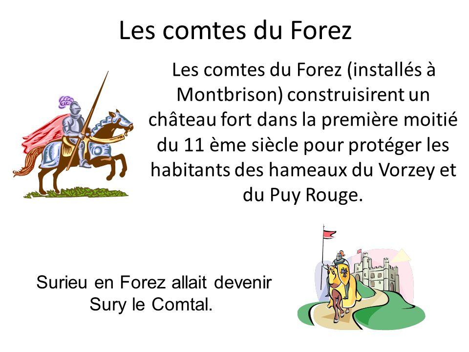 Les comtes du Forez Les comtes du Forez (installés à Montbrison) construisirent un château fort dans la première moitié du 11 ème siècle pour protéger