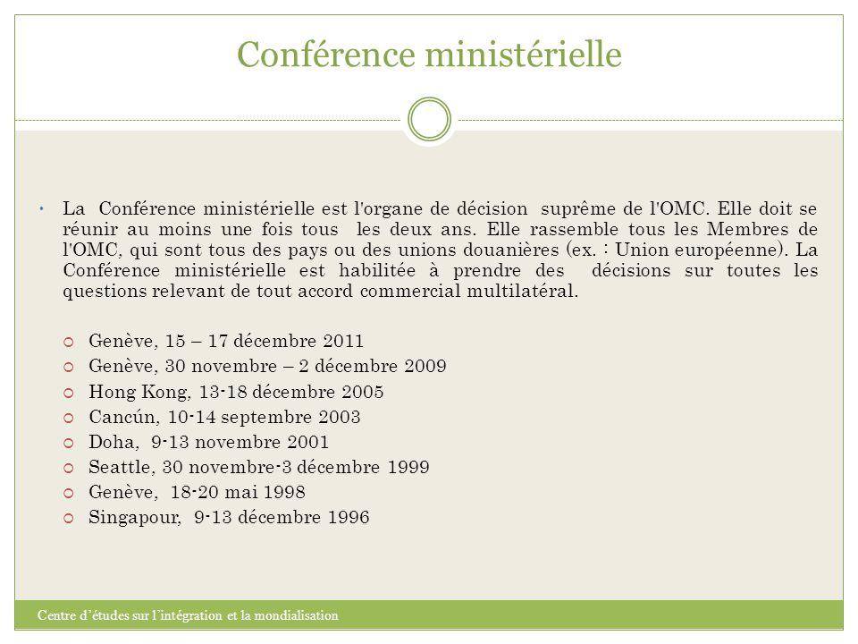 Conférence ministérielle Centre d'études sur l'intégration et la mondialisation La Conférence ministérielle est l'organe de décision suprême de l'OMC.