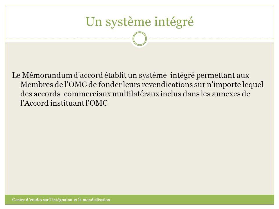 Un système intégré Centre d'études sur l'intégration et la mondialisation Le Mémorandum d'accord établit un système intégré permettant aux Membres de