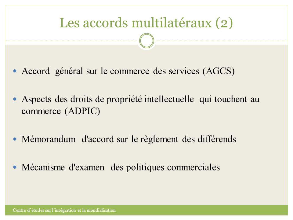 Les accords multilatéraux (2) Centre d'études sur l'intégration et la mondialisation Accord général sur le commerce des services (AGCS) Aspects des dr
