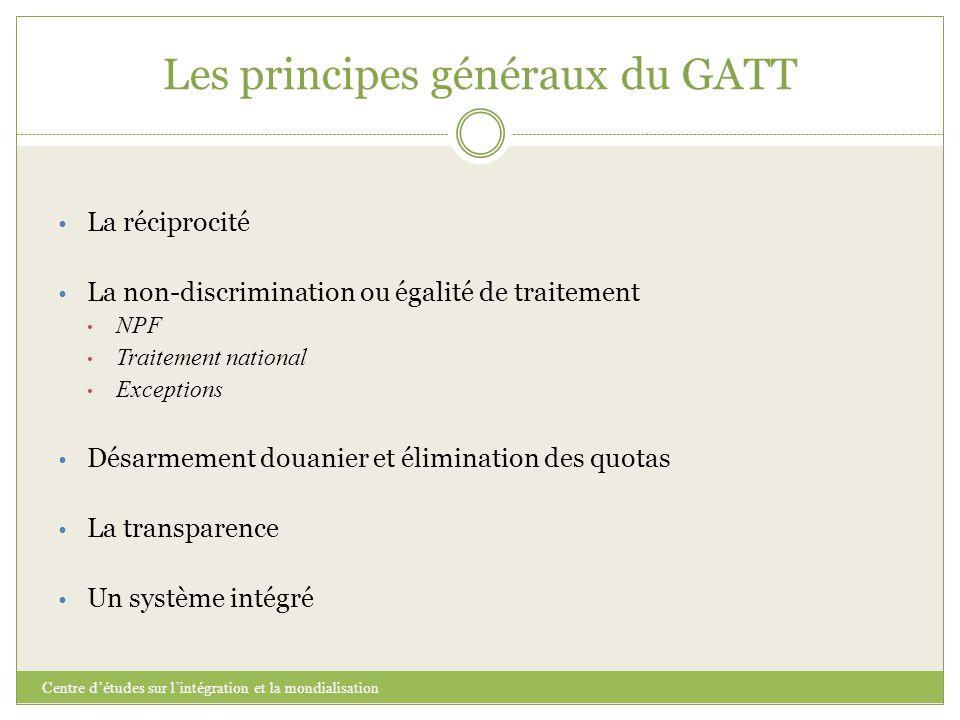 Les principes généraux du GATT Centre d'études sur l'intégration et la mondialisation La réciprocité La non-discrimination ou égalité de traitement NP