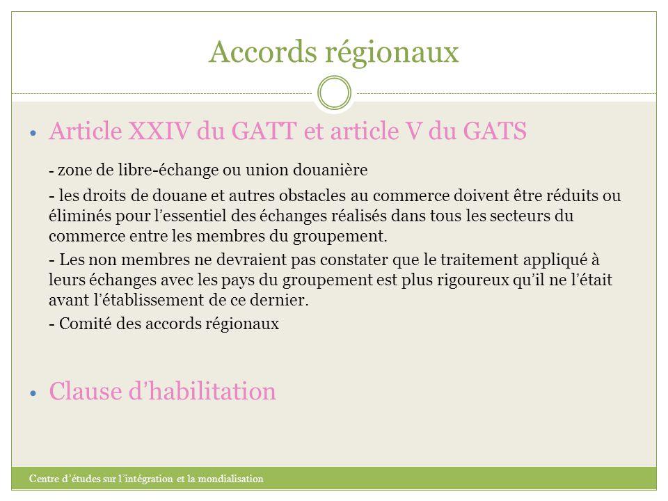Accords régionaux Centre d'études sur l'intégration et la mondialisation Article XXIV du GATT et article V du GATS - zone de libre-échange ou union do