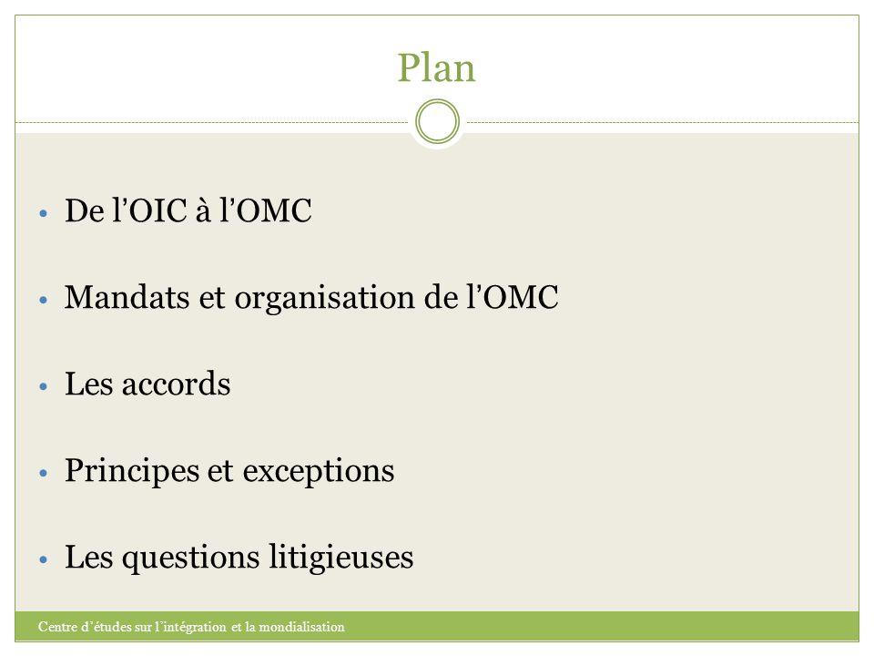 Plan Centre d'études sur l'intégration et la mondialisation De l ' OIC à l ' OMC Mandats et organisation de l ' OMC Les accords Principes et exception