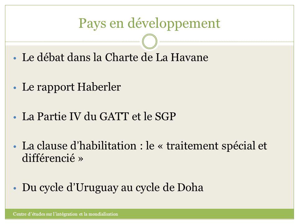 Pays en développement Centre d'études sur l'intégration et la mondialisation Le débat dans la Charte de La Havane Le rapport Haberler La Partie IV du