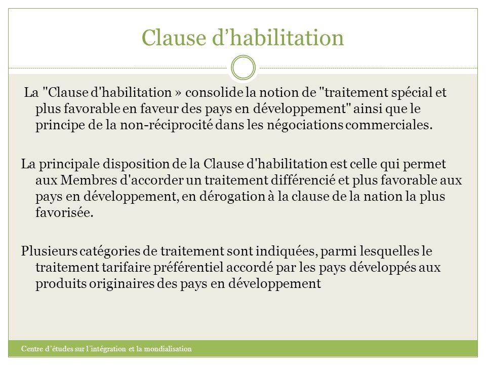 Clause d ' habilitation Centre d'études sur l'intégration et la mondialisation La