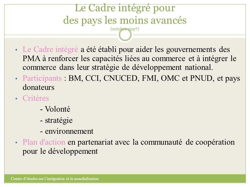 Le Cadre intégré pour des pays les moins avancés (octobre 1997) Centre d'études sur l'intégration et la mondialisation Le Cadre intégré a été établi p
