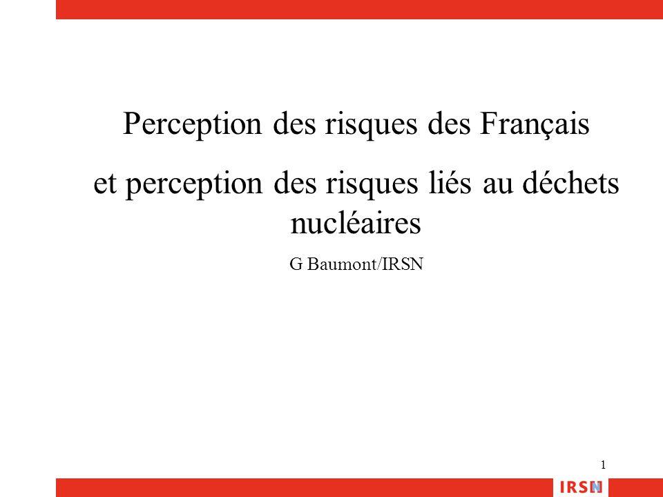 1 Perception des risques des Français et perception des risques liés au déchets nucléaires G Baumont/IRSN