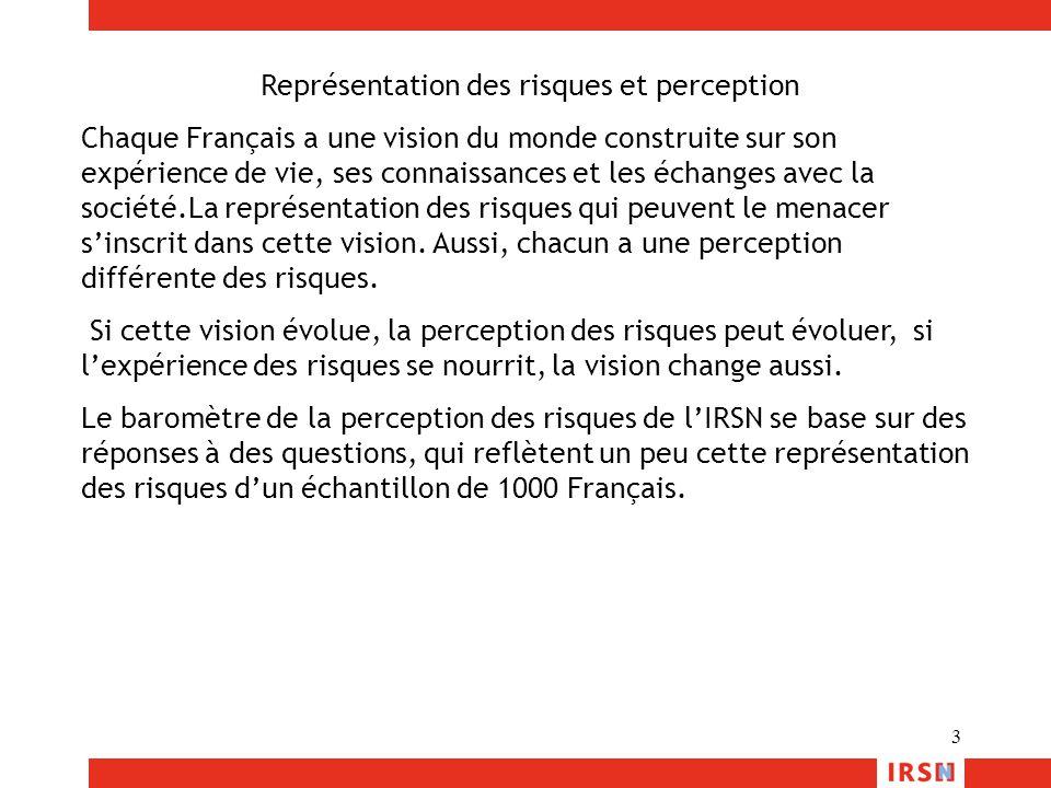 3 Représentation des risques et perception Chaque Français a une vision du monde construite sur son expérience de vie, ses connaissances et les échang