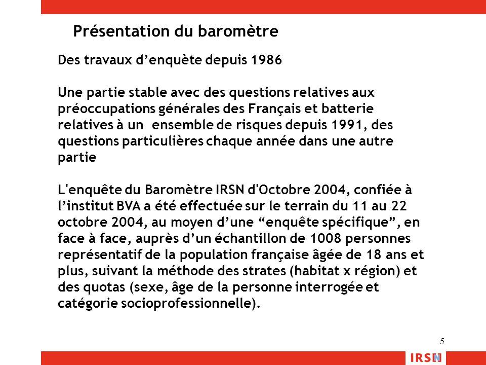5 Des travaux d'enquète depuis 1986 Une partie stable avec des questions relatives aux préoccupations générales des Français et batterie relatives à u
