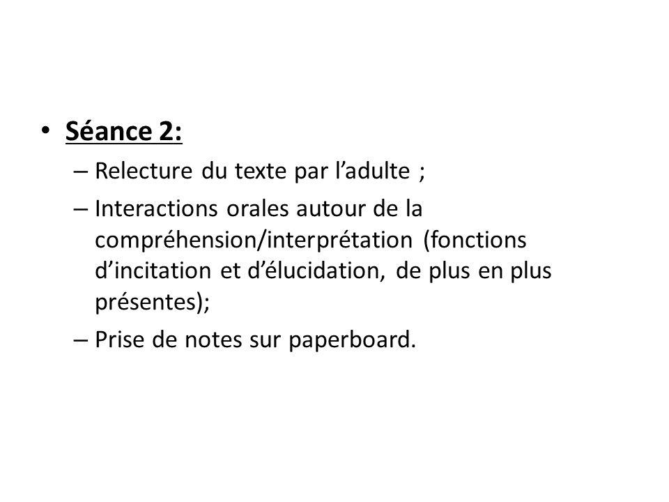Séance 2: – Relecture du texte par l'adulte ; – Interactions orales autour de la compréhension/interprétation (fonctions d'incitation et d'élucidation