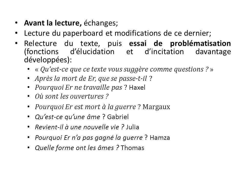 Avant la lecture, échanges; Lecture du paperboard et modifications de ce dernier; Relecture du texte, puis essai de problématisation (fonctions d'éluc