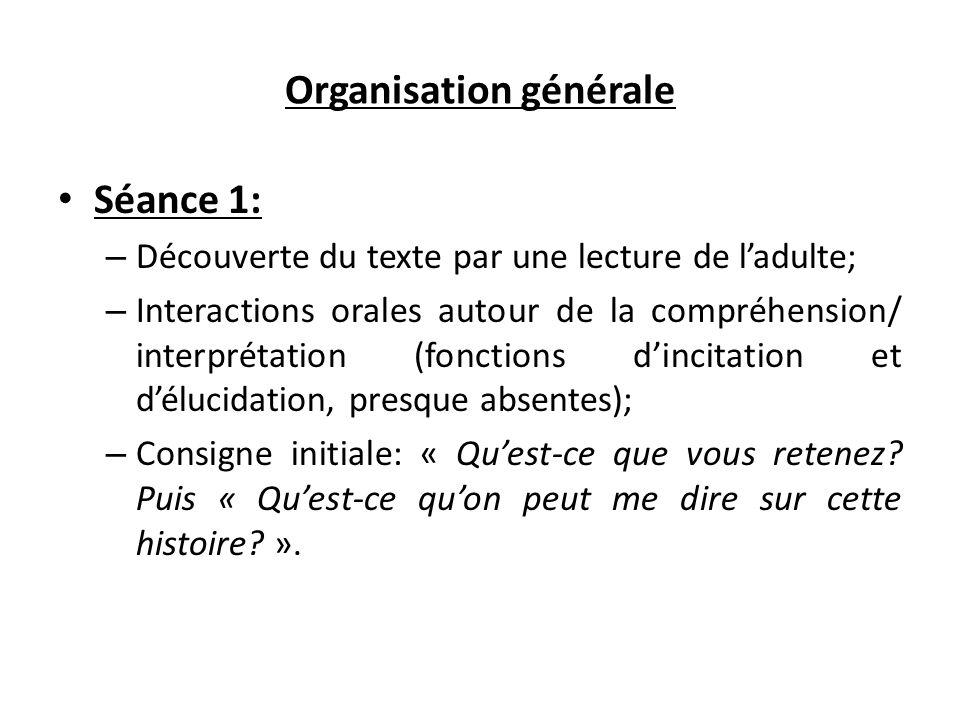 Organisation générale Séance 1: – Découverte du texte par une lecture de l'adulte; – Interactions orales autour de la compréhension/ interprétation (f