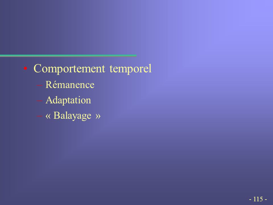 - 115 - Comportement temporel –Rémanence –Adaptation –« Balayage »