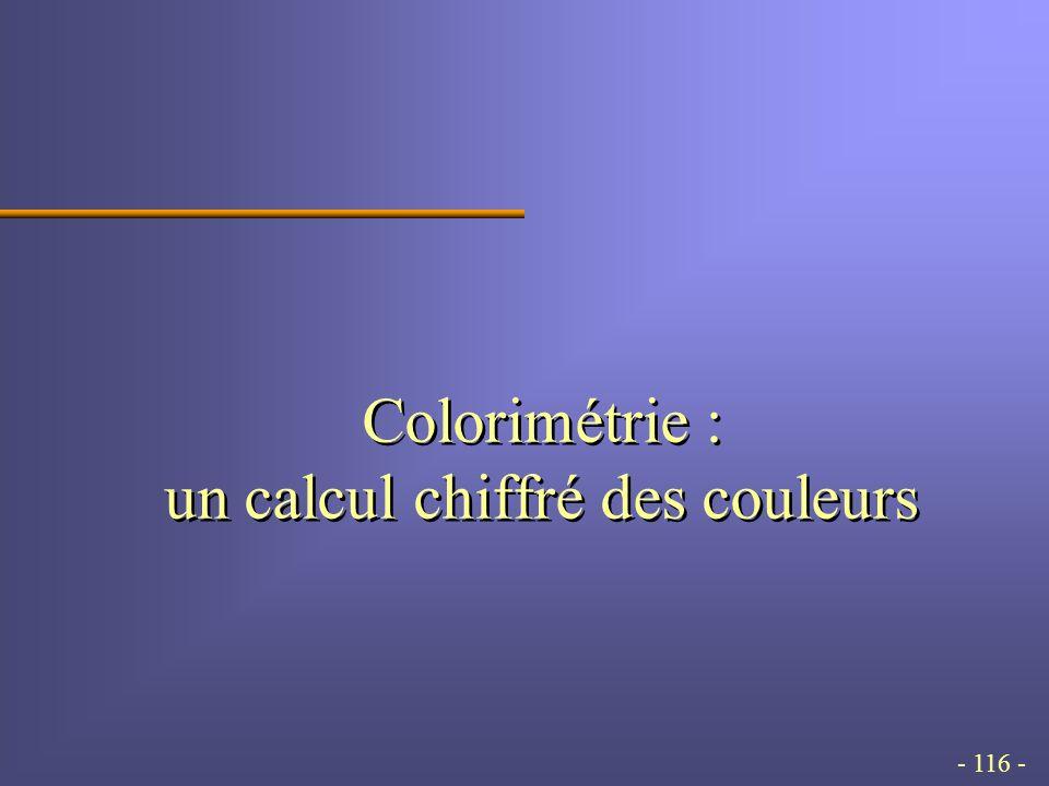 - 116 - Colorimétrie : un calcul chiffré des couleurs