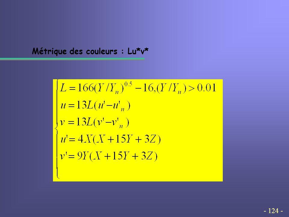- 124 - Métrique des couleurs : Lu*v*