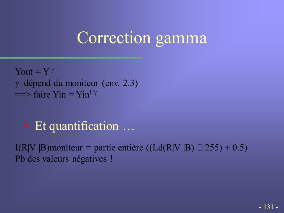 - 131 - Correction gamma Et quantification … Yout = Y γ γ dépend du moniteur (env.