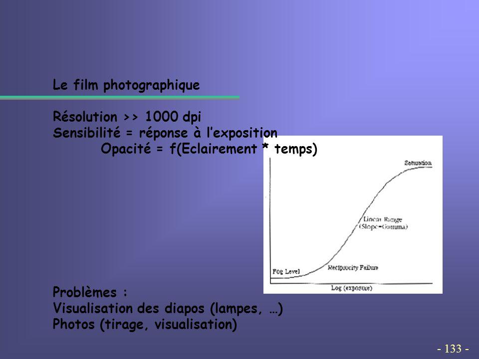 - 133 - Le film photographique Résolution >> 1000 dpi Sensibilité = réponse à l'exposition Opacité = f(Eclairement * temps) Problèmes : Visualisation des diapos (lampes, …) Photos (tirage, visualisation)