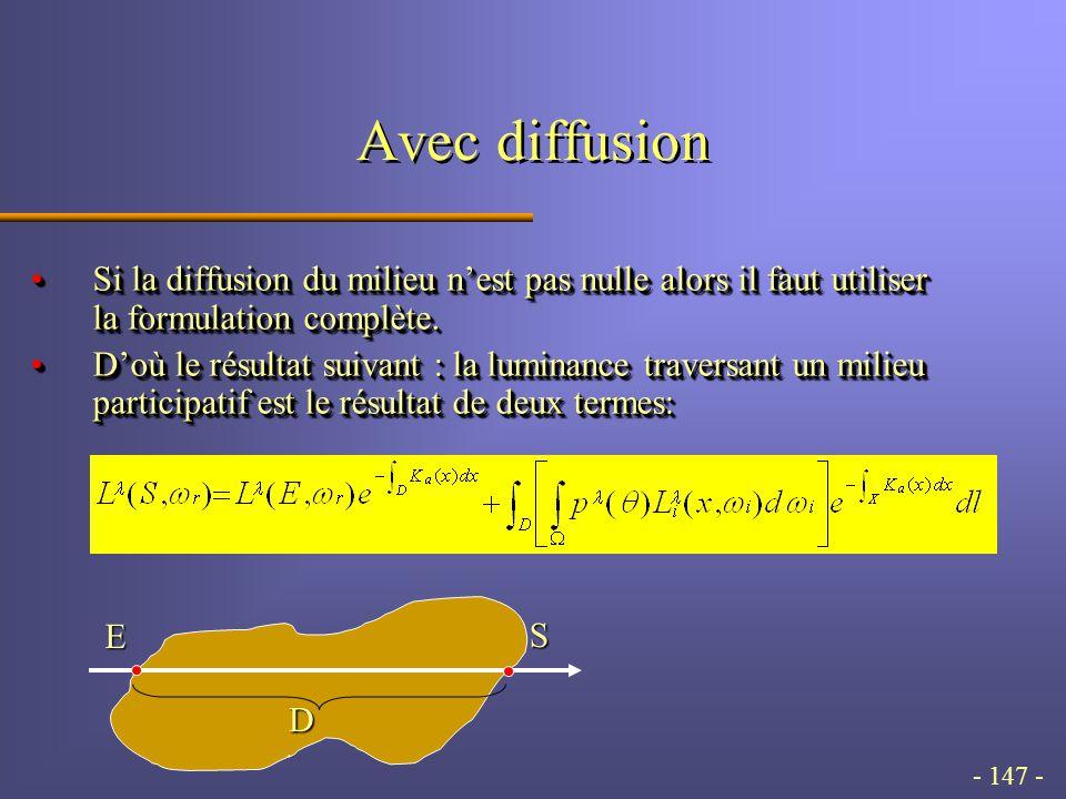 - 147 - Avec diffusion Si la diffusion du milieu n'est pas nulle alors il faut utiliser la formulation complète.Si la diffusion du milieu n'est pas nulle alors il faut utiliser la formulation complète.
