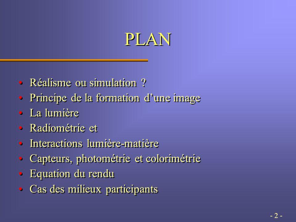 - 143 - Propagation dans le milieu En présence d'un milieu participatif (semi-transparent), il faut une modélisation volumique de la propagation.En présence d'un milieu participatif (semi-transparent), il faut une modélisation volumique de la propagation.