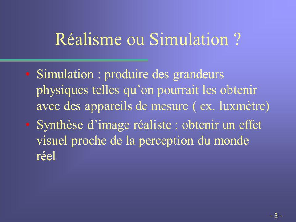 - 3 - Réalisme ou Simulation .