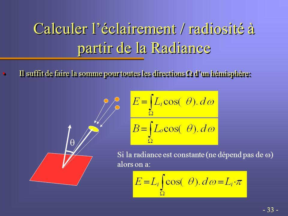 - 33 - Calculer l'éclairement / radiosité à partir de la Radiance Il suffit de faire la somme pour toutes les directions  d'un hémisphère:Il suffit de faire la somme pour toutes les directions  d'un hémisphère:  Si la radiance est constante (ne dépend pas de  ) alors on a: