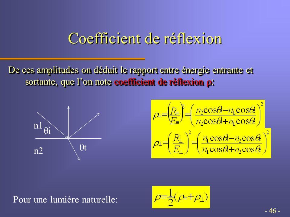 - 46 - Coefficient de réflexion De ces amplitudes on déduit le rapport entre énergie entrante et sortante, que l'on note coefficient de réflexion  : ii tt n1 n2 Pour une lumière naturelle:
