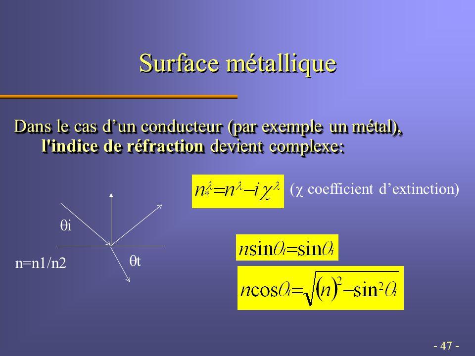 - 47 - Surface métallique Dans le cas d'un conducteur (par exemple un métal), l indice de réfraction devient complexe: ii tt n=n1/n2 (  coefficient d'extinction)