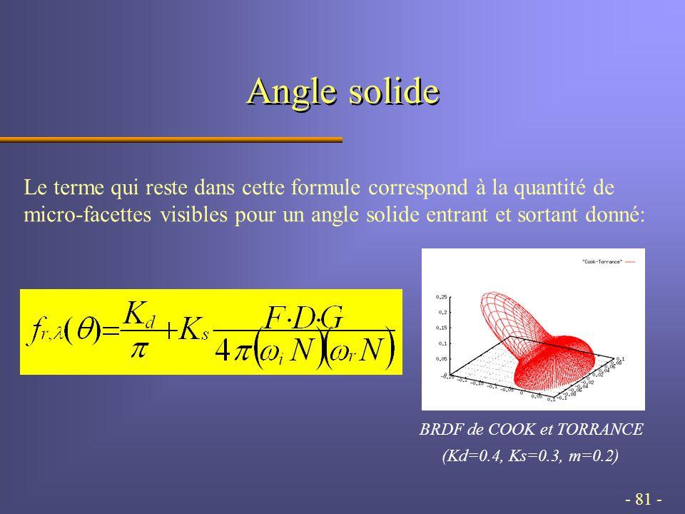 - 81 - Angle solide Le terme qui reste dans cette formule correspond à la quantité de micro-facettes visibles pour un angle solide entrant et sortant donné: BRDF de COOK et TORRANCE (Kd=0.4, Ks=0.3, m=0.2)