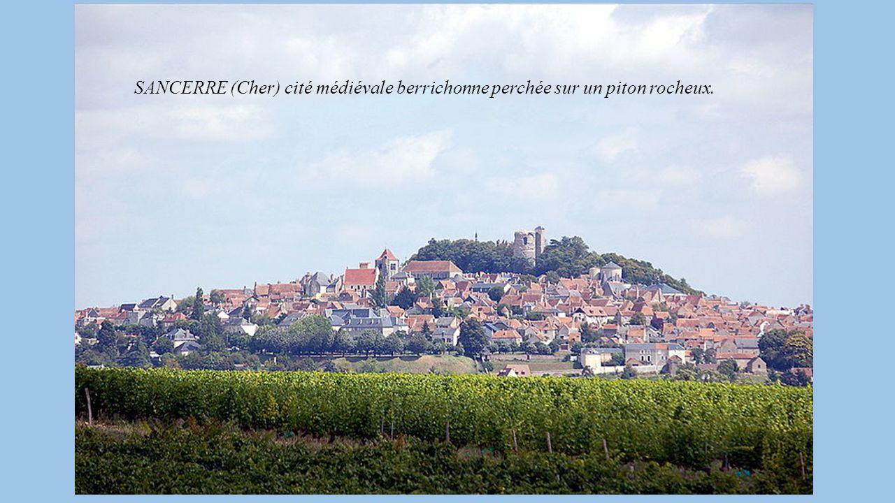 Miniature des Très riches heures du Duc de Berry représentant le Château de Mehun Vieilles pierres, artisanat dans les vieilles rues aux maisons ancie