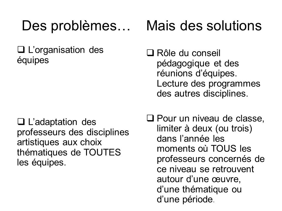 Des problèmes…  L'organisation des équipes  L'adaptation des professeurs des disciplines artistiques aux choix thématiques de TOUTES les équipes. Ma