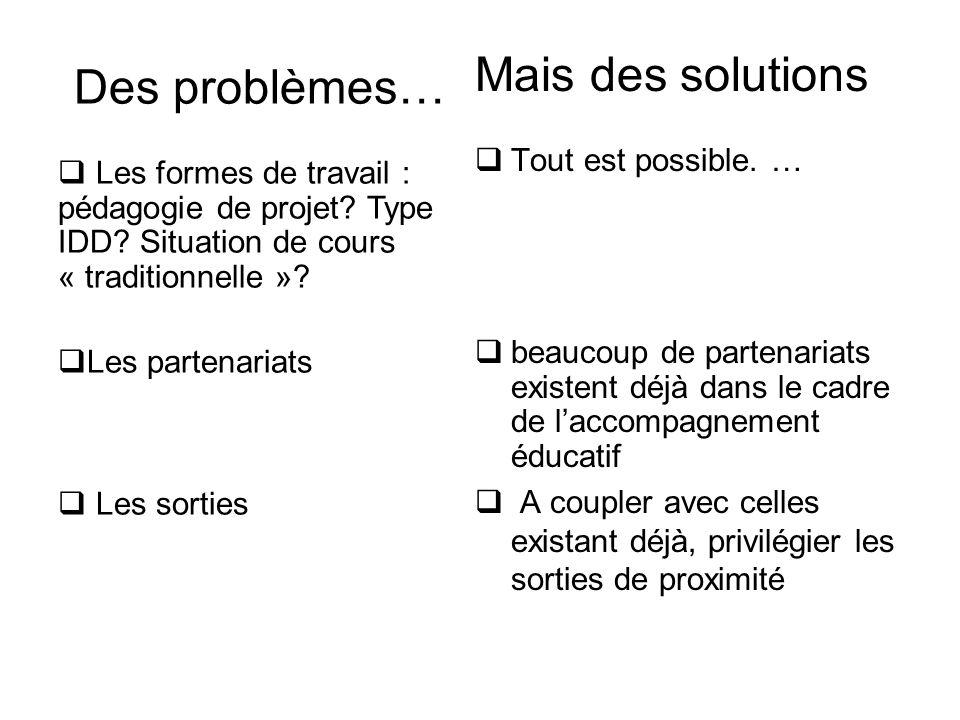 Des problèmes…  Les formes de travail : pédagogie de projet? Type IDD? Situation de cours « traditionnelle »?  Les partenariats  Les sorties Mais d