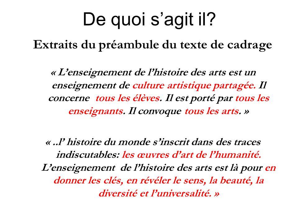 De quoi s'agit il? Extraits du préambule du texte de cadrage « L'enseignement de l'histoire des arts est un enseignement de culture artistique partagé