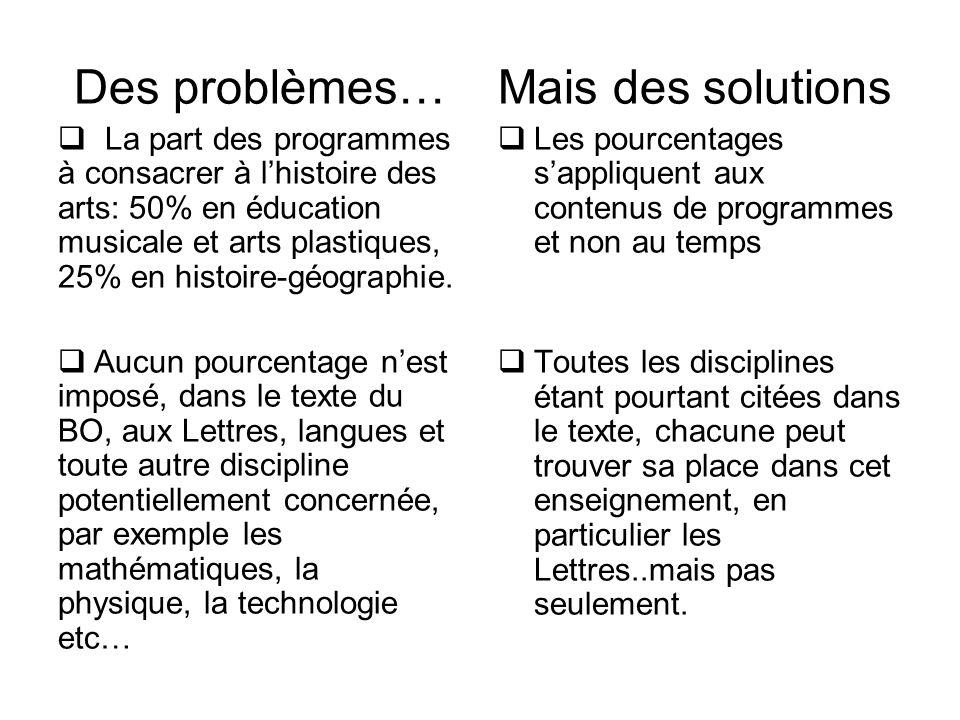 Des problèmes…  La part des programmes à consacrer à l'histoire des arts: 50% en éducation musicale et arts plastiques, 25% en histoire-géographie. 