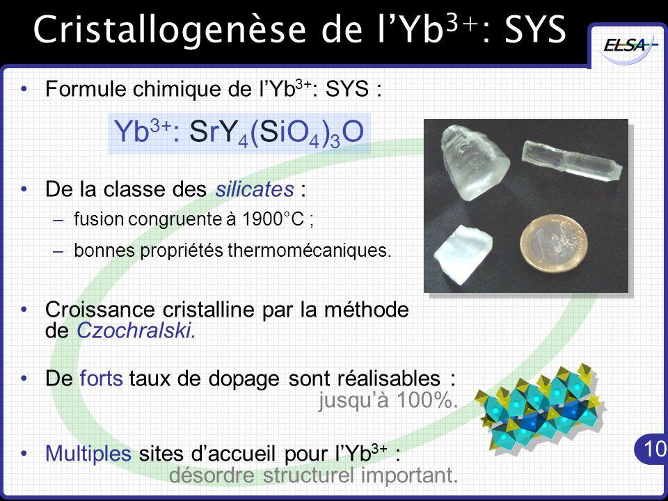 10 Cristallogenèse de l'Yb 3+ : SYS Formule chimique de l'Yb 3+ : SYS : Yb 3+ : SrY 4 (SiO 4 ) 3 O De la classe des silicates : –fusion congruente à 1900°C ; –bonnes propriétés thermomécaniques.