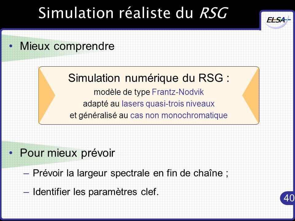 40 Simulation réaliste du RSG Mieux comprendre Pour mieux prévoir –Prévoir la largeur spectrale en fin de chaîne ; –Identifier les paramètres clef.