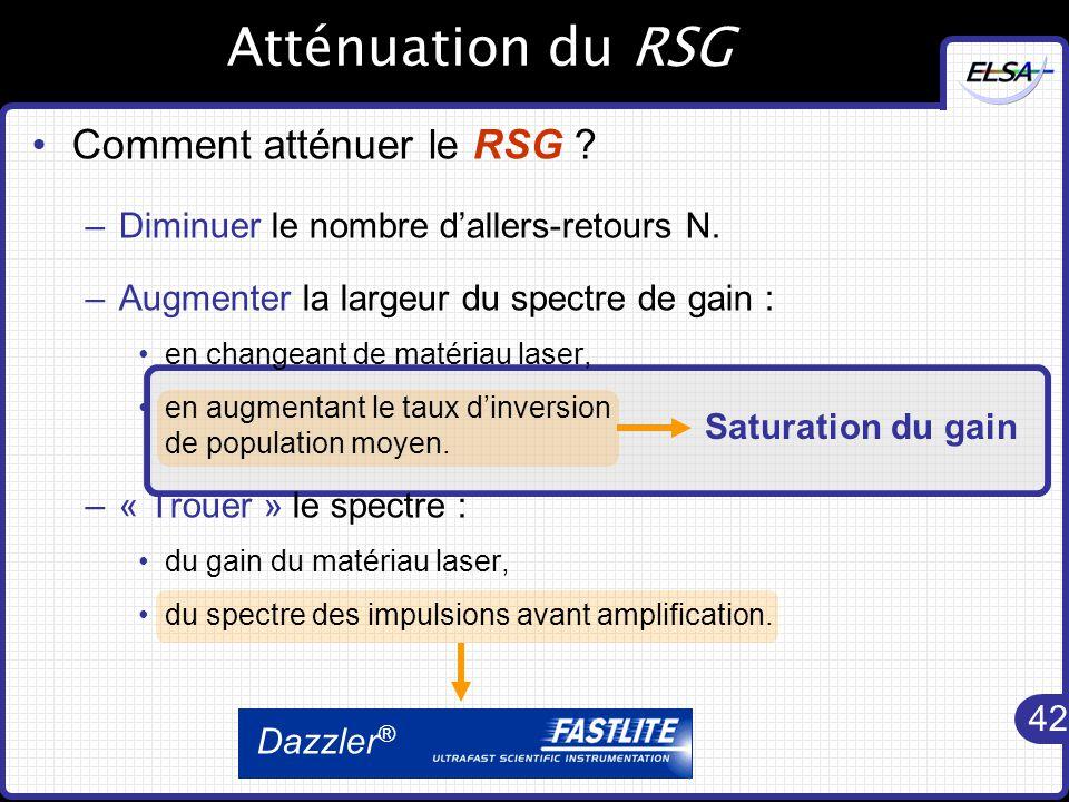 42 Dazzler ® Saturation du gain Atténuation du RSG Comment atténuer le RSG .