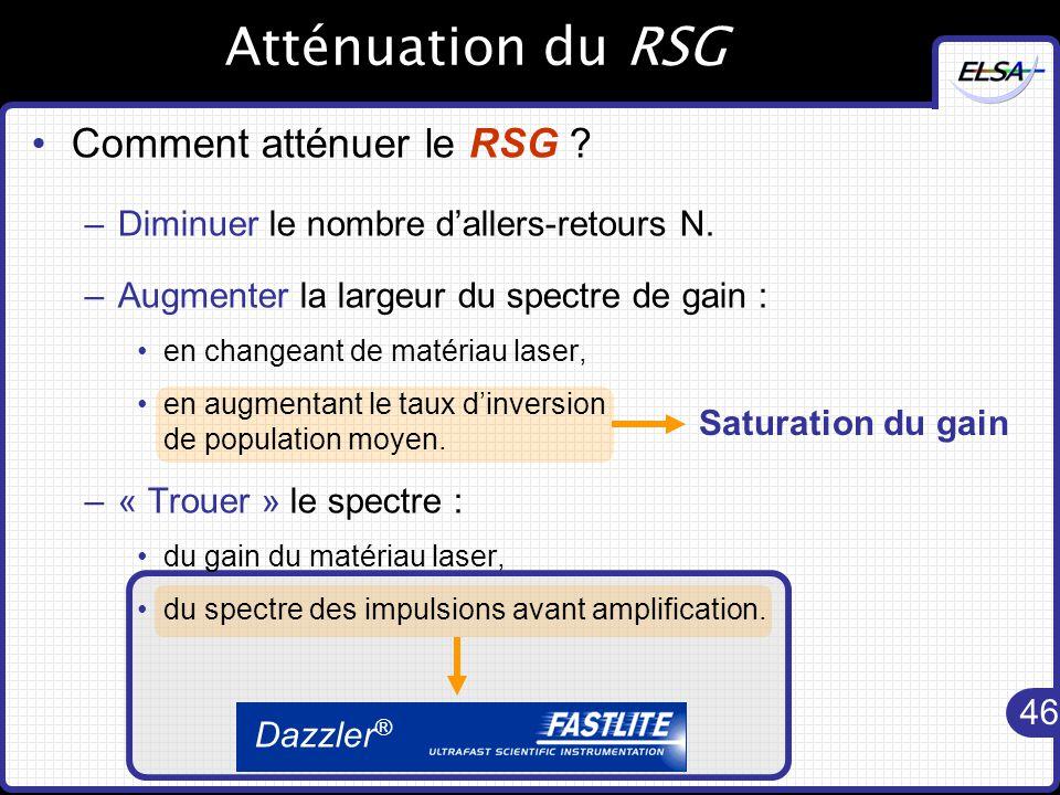 46 Dazzler ® Saturation du gain Atténuation du RSG Comment atténuer le RSG .