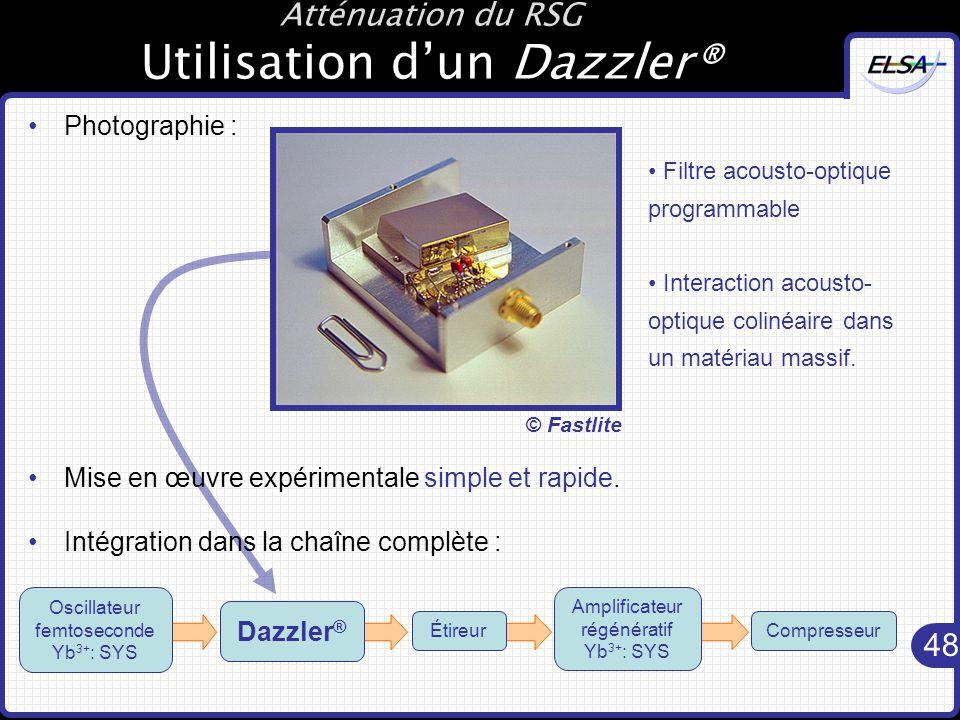 48 Atténuation du RSG Utilisation d'un Dazzler® Photographie : Mise en œuvre expérimentale simple et rapide.