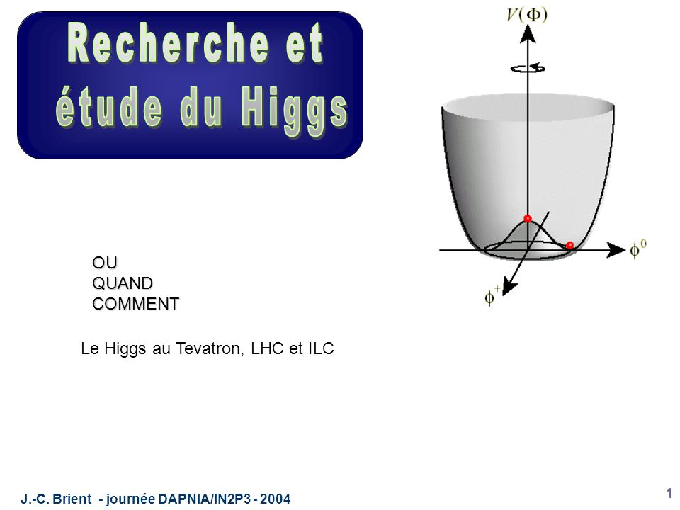 J.-C. Brient - journée DAPNIA/IN2P3 - 2004 1 Le Higgs au Tevatron, LHC et ILC OUQUANDCOMMENT