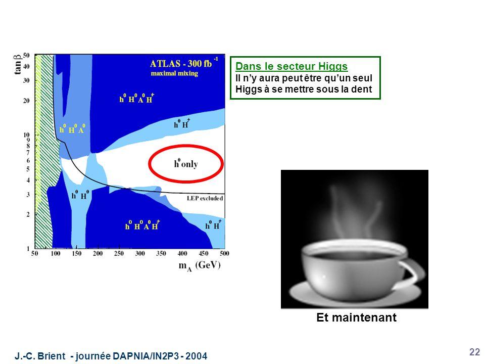 J.-C. Brient - journée DAPNIA/IN2P3 - 2004 22 Dans le secteur Higgs Il n'y aura peut être qu'un seul Higgs à se mettre sous la dent Et maintenant