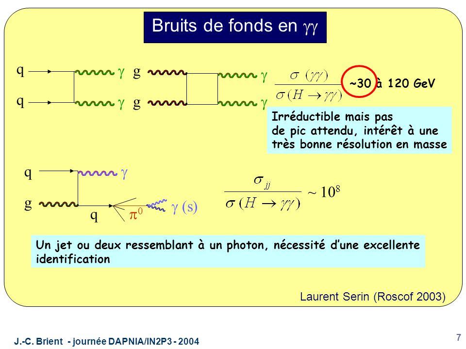 J.-C. Brient - journée DAPNIA/IN2P3 - 2004 7 Bruits de fonds en  q q   g g   ~30 à 120 GeV Irréductible mais pas de pic attendu, intérêt à une t