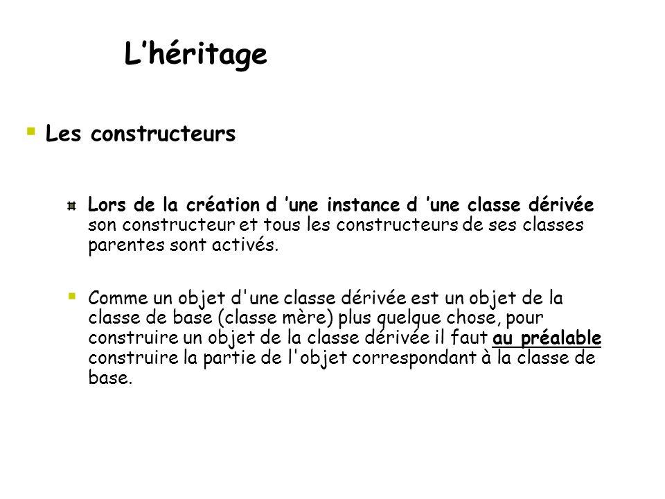  Les constructeurs L'héritage Lors de la création d 'une instance d 'une classe dérivée son constructeur et tous les constructeurs de ses classes parentes sont activés.