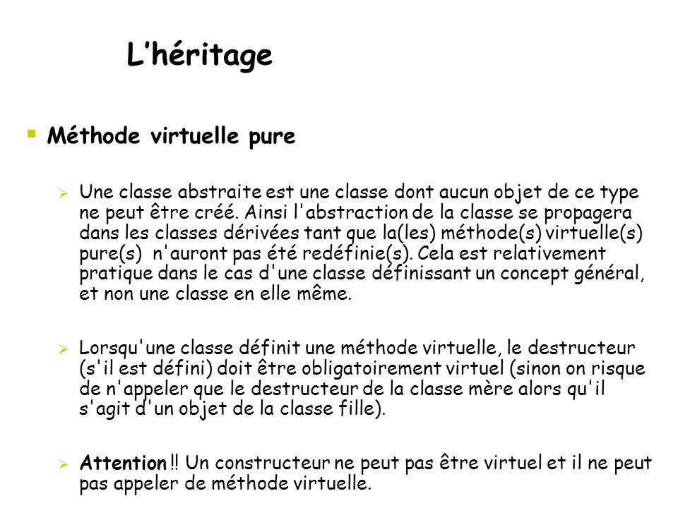  Méthode virtuelle pure L'héritage  Une classe abstraite est une classe dont aucun objet de ce type ne peut être créé. Ainsi l'abstraction de la cla