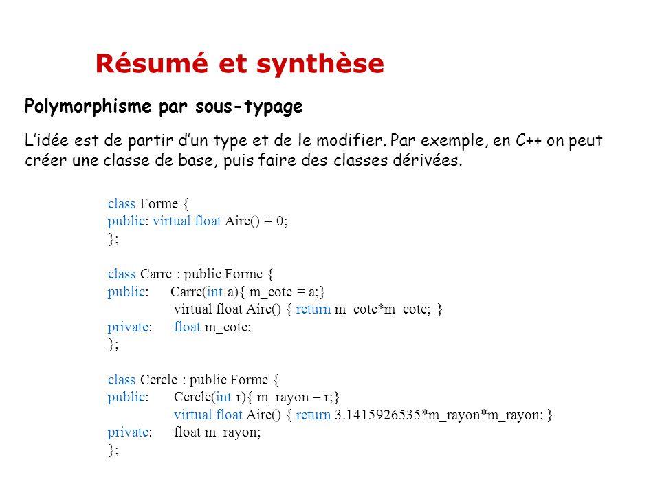 Polymorphisme par sous-typage L'idée est de partir d'un type et de le modifier. Par exemple, en C++ on peut créer une classe de base, puis faire des c