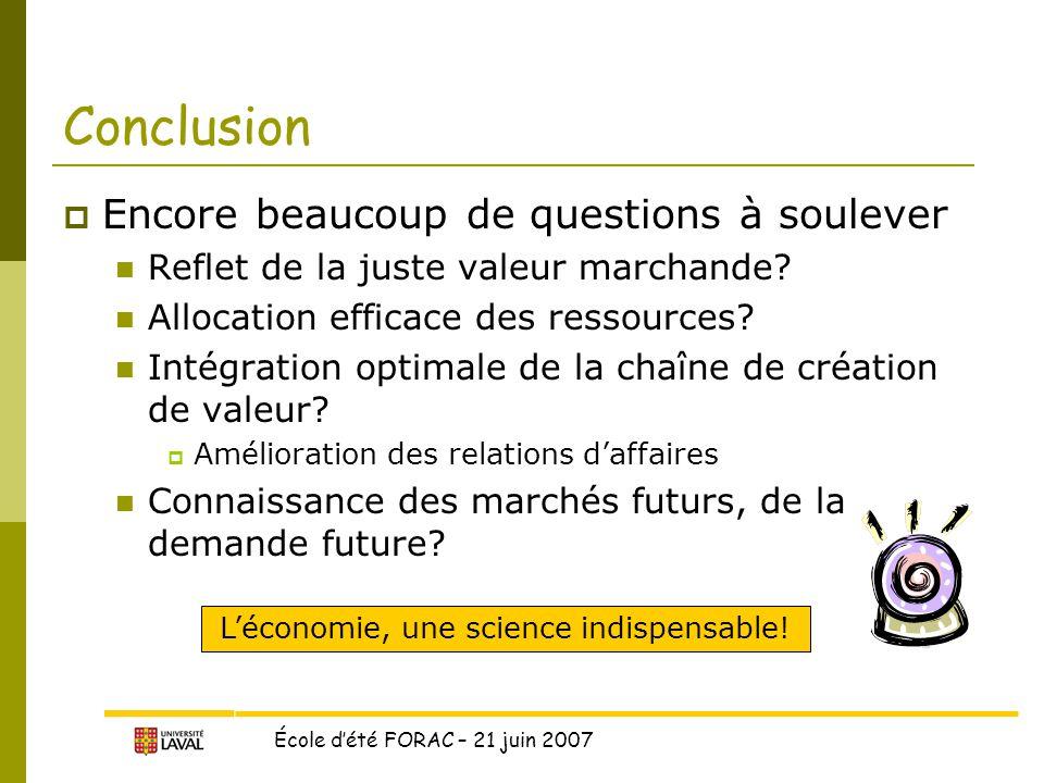 École d'été FORAC – 21 juin 2007 Conclusion  Encore beaucoup de questions à soulever Reflet de la juste valeur marchande.