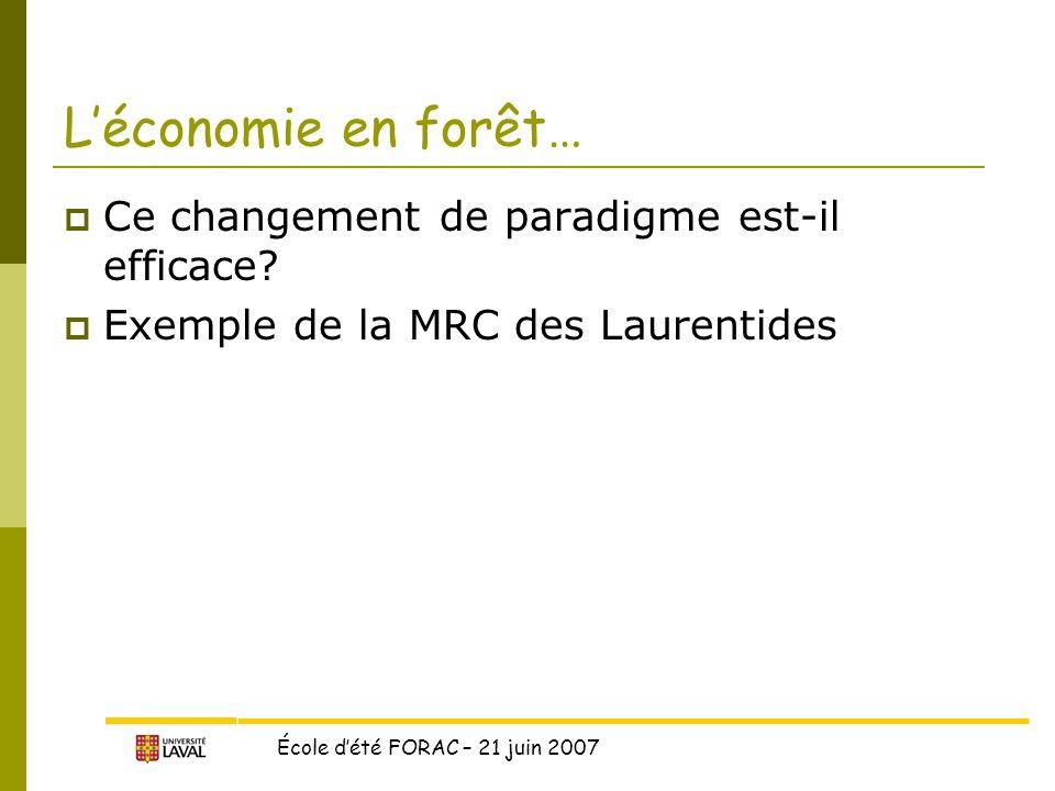 École d'été FORAC – 21 juin 2007  Ce changement de paradigme est-il efficace.