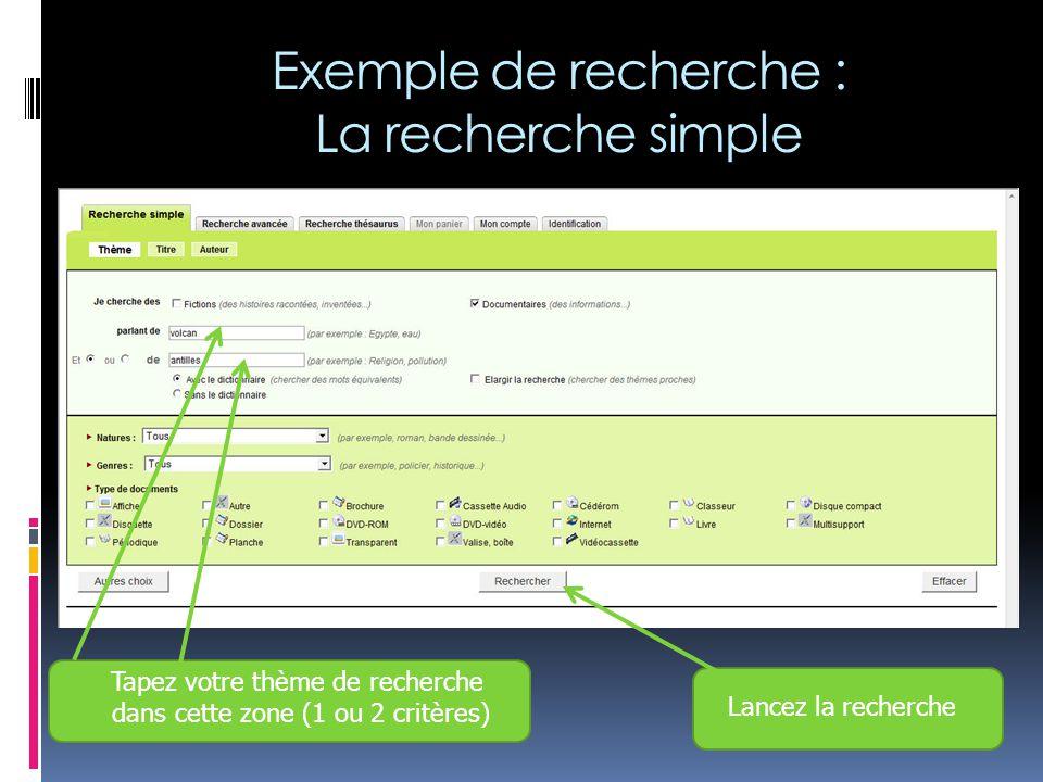 Le support du document L'écran de résultats : Le nombre de documents La situation, l'emplacement du document… Un résumé du contenu
