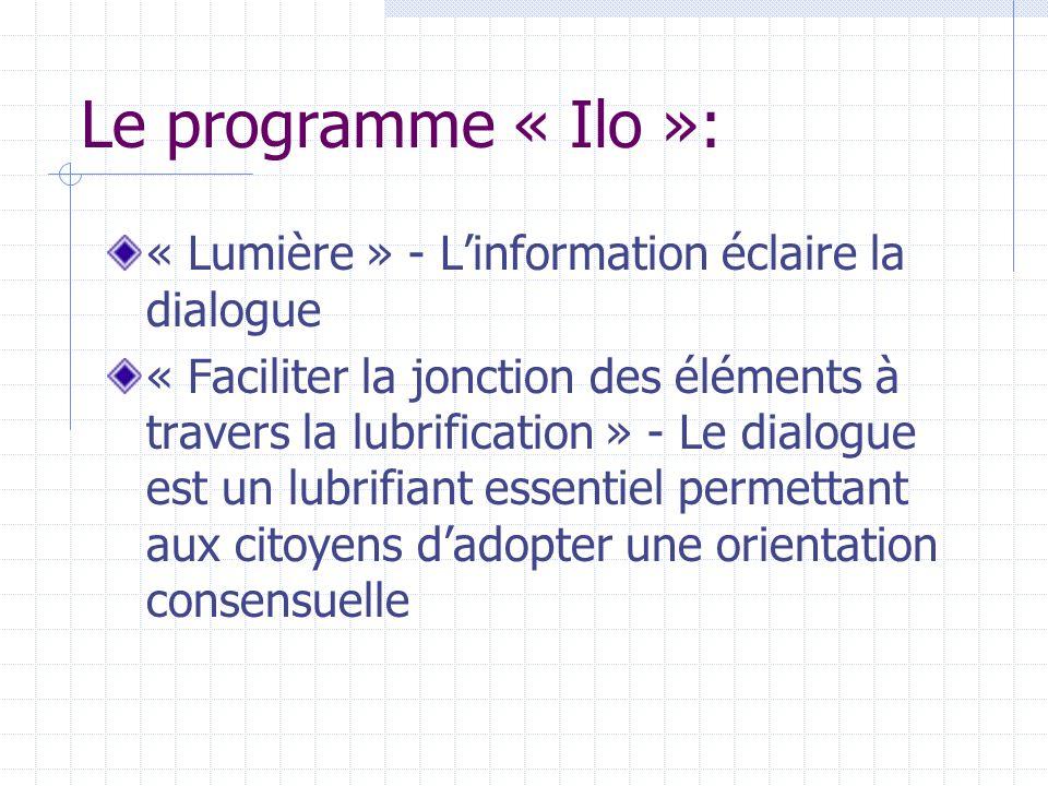 Le programme « Ilo »: « Lumière » - L'information éclaire la dialogue « Faciliter la jonction des éléments à travers la lubrification » - Le dialogue est un lubrifiant essentiel permettant aux citoyens d'adopter une orientation consensuelle