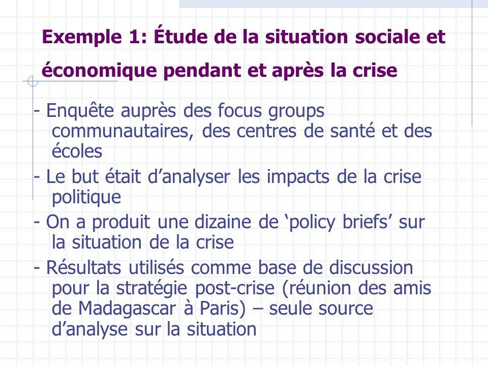 Exemple 1: Étude de la situation sociale et économique pendant et après la crise - Enquête auprès des focus groups communautaires, des centres de sant