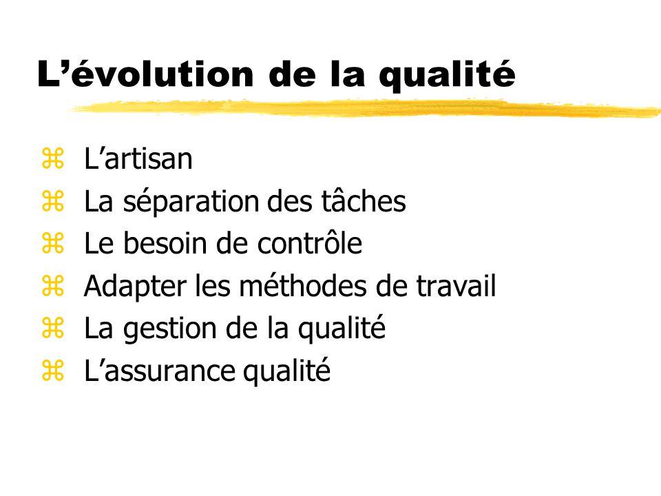 L'évolution de la qualité zL'artisan zLa séparation des tâches zLe besoin de contrôle zAdapter les méthodes de travail zLa gestion de la qualité zL'assurance qualité